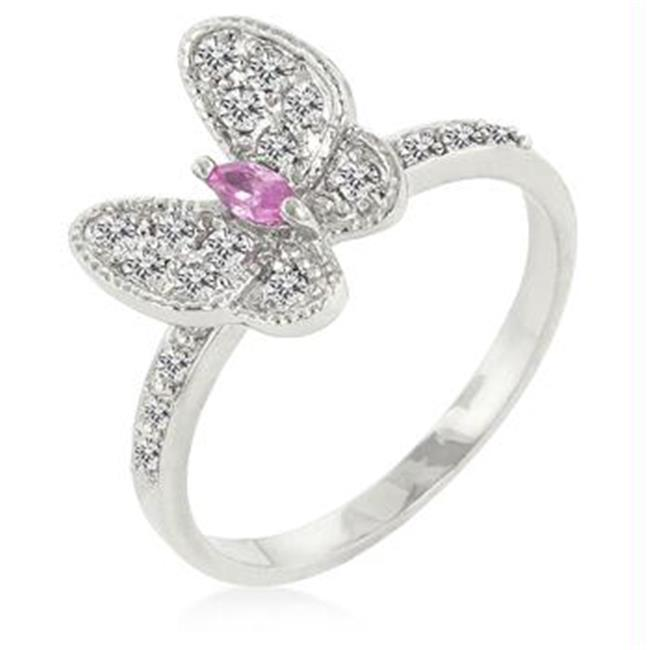 CZ Butterfly Cocktail Ring, <b>Size :</b> 06