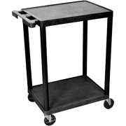 "Luxor 300 lb. 24"" x 18"" 2-Shelf Black Utility Cart"