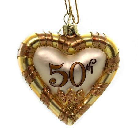 Noble Gems ANNIVERSARY HEART ORNAMENT Glass Marriage Love 40Th](50th Anniversary Ornament)