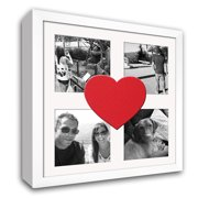 Heart & Love Picture Frame - Wood Frame With Heart Shaped Double Mat for 4x6 photo