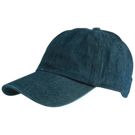 Low Profile Hat w/ Adjustable Brass Buckle Plain Baseball Cap Blue -