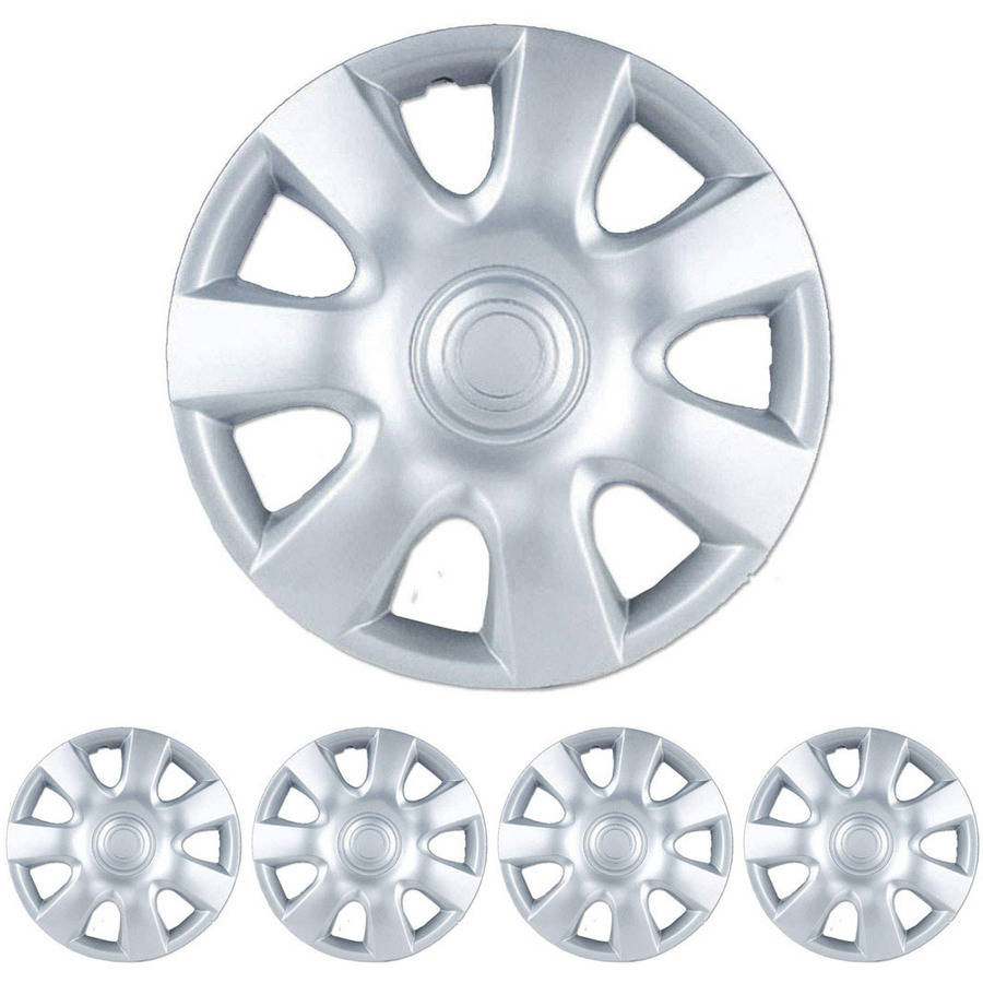 "BDK Toyota Camry Style Hubcaps Wheel Cover, 15"" Silver Replica Cover, 4 Pieces"
