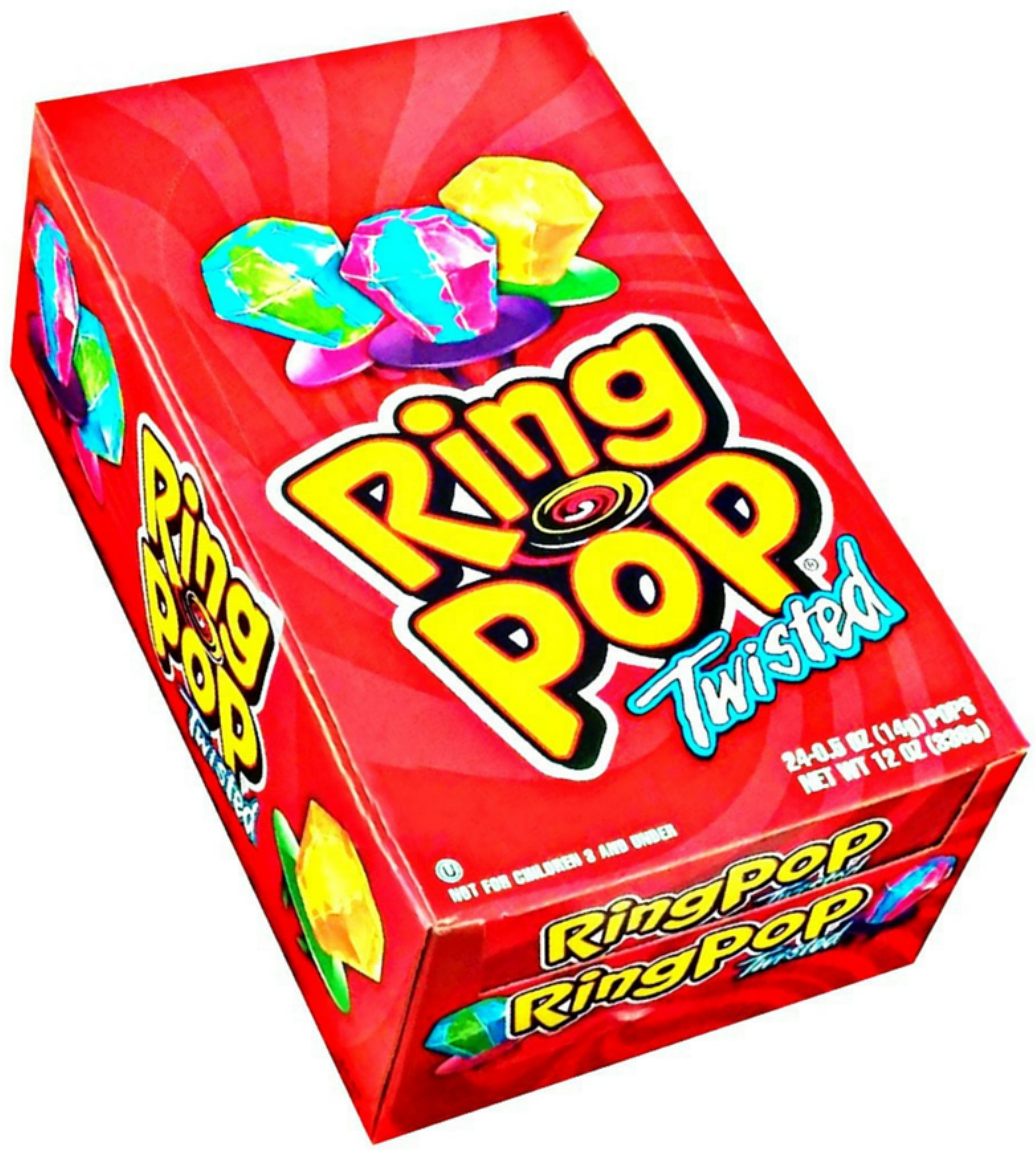 3 Pack - Ring Pop Twisted Fruit 24 ct