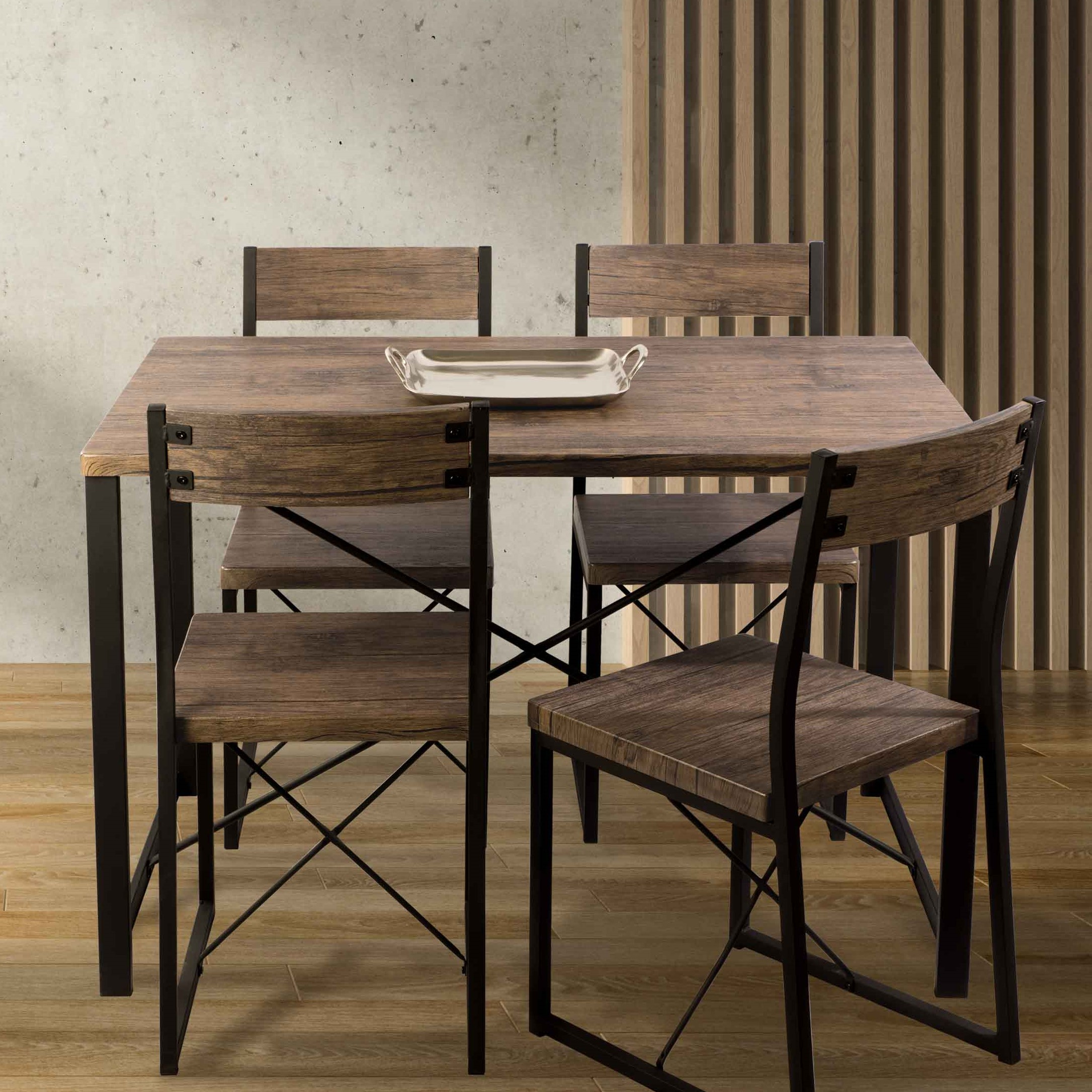 Atlantic Urban Blend Dining 5-Piece Set, Modern Steel Frame and Wood Grain Laminate