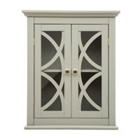 Product Image Glitzhome 24 H Wooden Wall Storage Cabinet With 2 Gl Doors