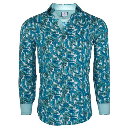 Suslo Couture Men's Fashion Designer Paisley Printed Casual Long Sleeve Button Down Shirts with Trimmings