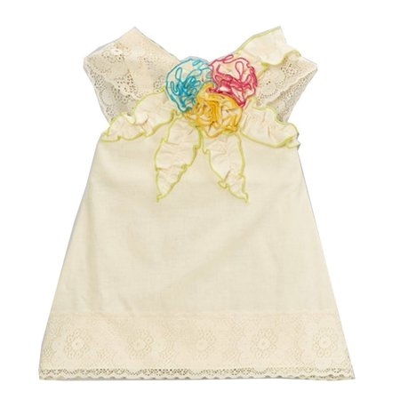 Little Tee Tee Lace And Trims (Little Girls Ivory Multi Colored Floral Accents Lace Trim Shirt)