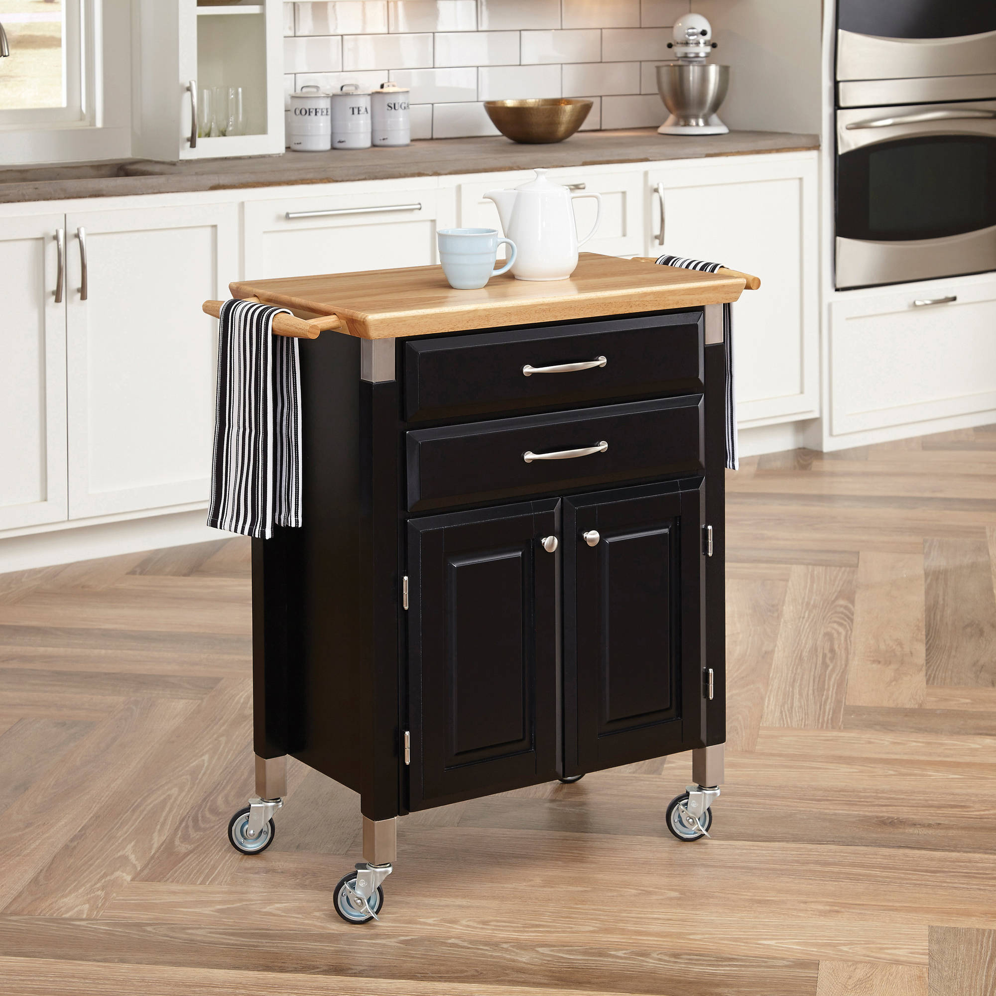 Dolly Madison Prep and Serve Kitchen Cart, Black