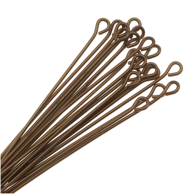 Vintaj Natural Brass Open Eye Pins 21 Gauge 1.5 Inches (20)