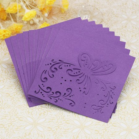 20PC Hollow Butterfly Delicate Carved Romantic Wedding Party Invitation Card