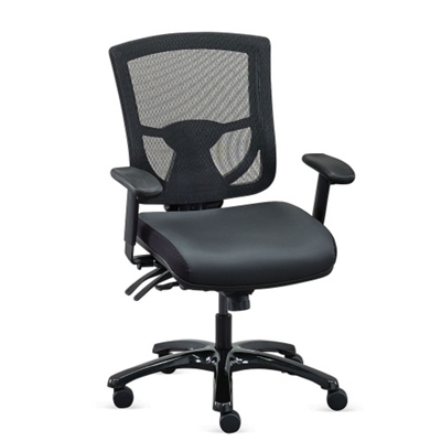 Overtime 24 7 Meshback Chair With Leather Seat Black Leather Seat Black Mesh Back Frame