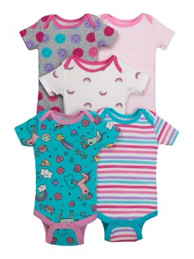Little Star Organic Baby Girl Short Sleeve Bodysuits, 5-pack