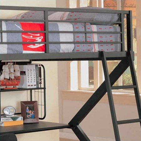 Coaster Workstation Full Loft Bed, Black Matte Finish, (Box 1 of 2)