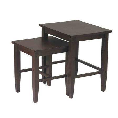 Contemporary Nesting End Tables, Set of 2, Espresso