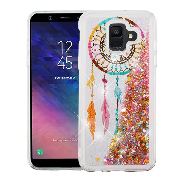 Bear Clear Case for Samsung Galaxy A6 2018 with Glitter Design,QFFUN Sparkle Laser Pattern Ultra Thin Soft Silicone Protective Case Transparent TPU Back Cover Bumper with Screen Protector