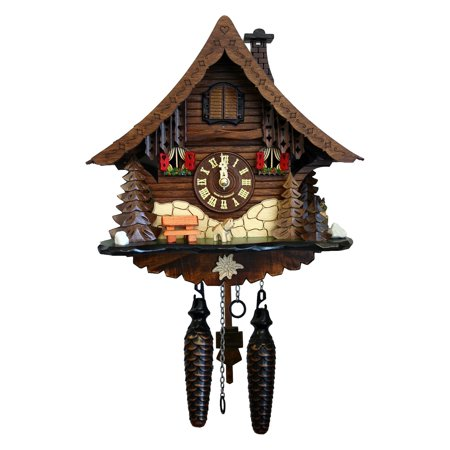 Black Forest 7-Inch High Cuckoo - Black Forest Leaf Cuckoo Clock