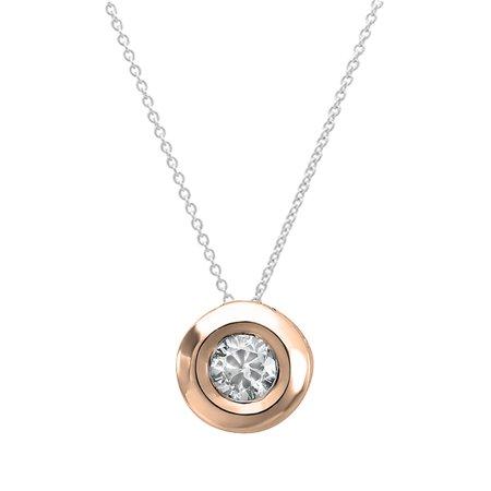 0 05 Carat  Ctw  14K Gold Round Diamond Bezel Solitaire Small Ladies Pendant 1 20 Ct Free 18 Inch Chain