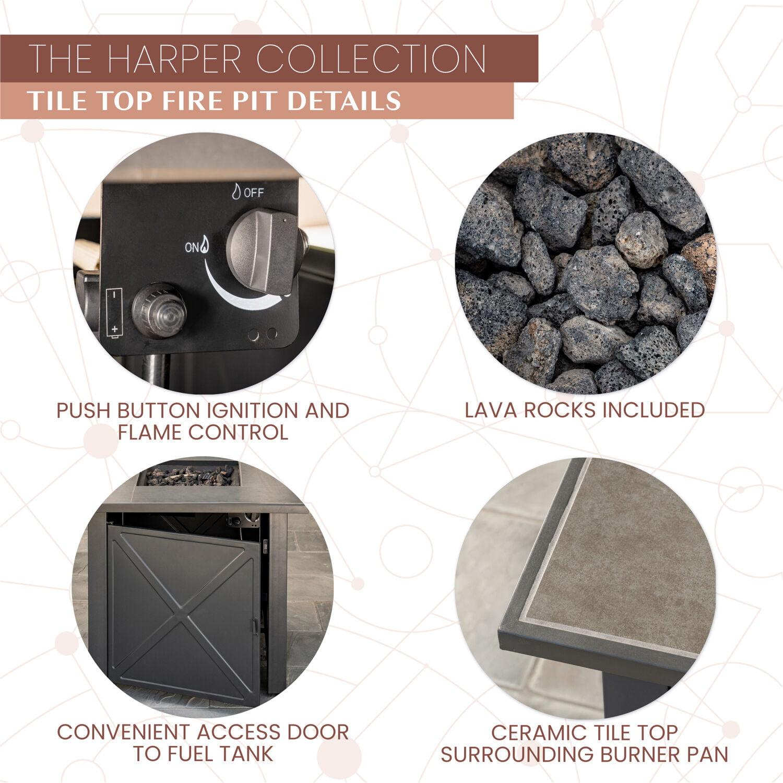 Mod Harper 40 000 Btu Tile Top Gas Fire Pit Table With Burner Cover And Lava Rocks Walmart Com Walmart Com