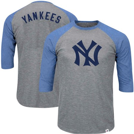 New York Yankees Majestic Big   Tall Cooperstown Collection Raglan  3 4-Sleeve T-Shirt - Heathered Gray Royal - Walmart.com 61edecf64a8