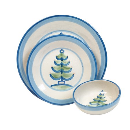 Hadley Pottery Company Christmas Tree 3 Piece Place Setting  Service For 1