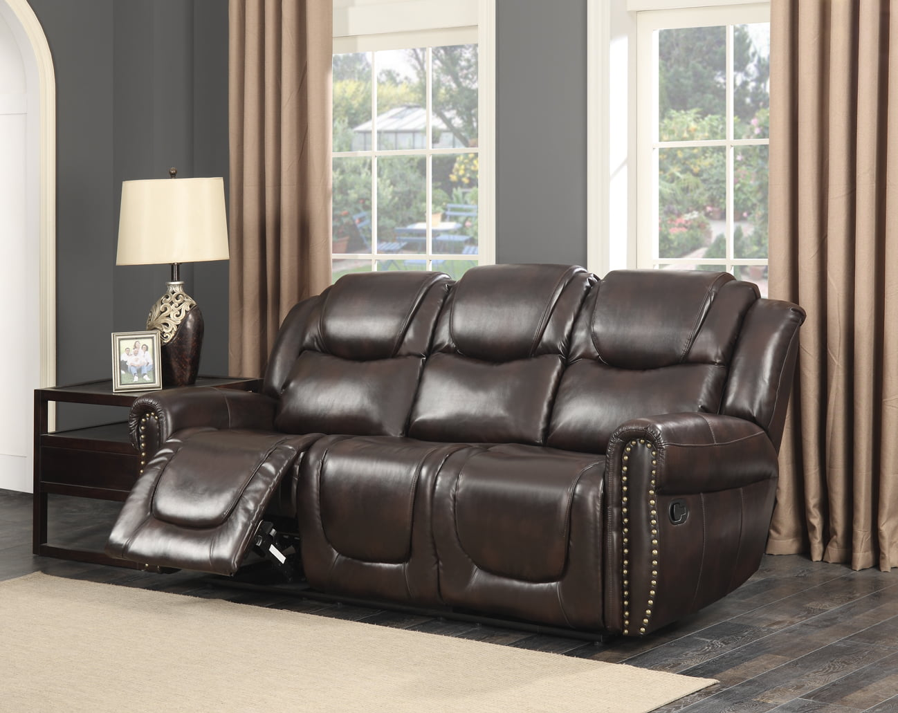 Savannah Dark Brown Bonded Leather Living Room Reclining Sofa ...