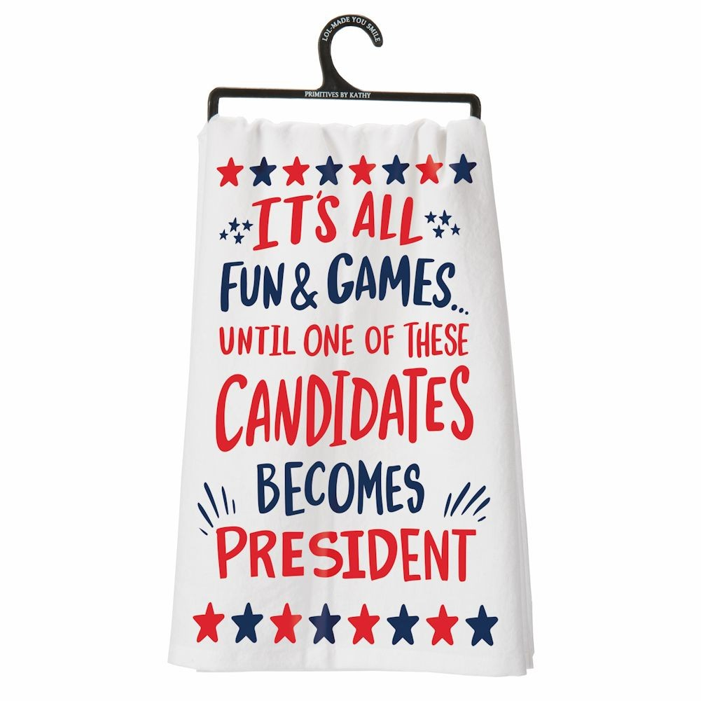 """Cocktail Party Political Dish Towel 28"""" X 28"""" by"""