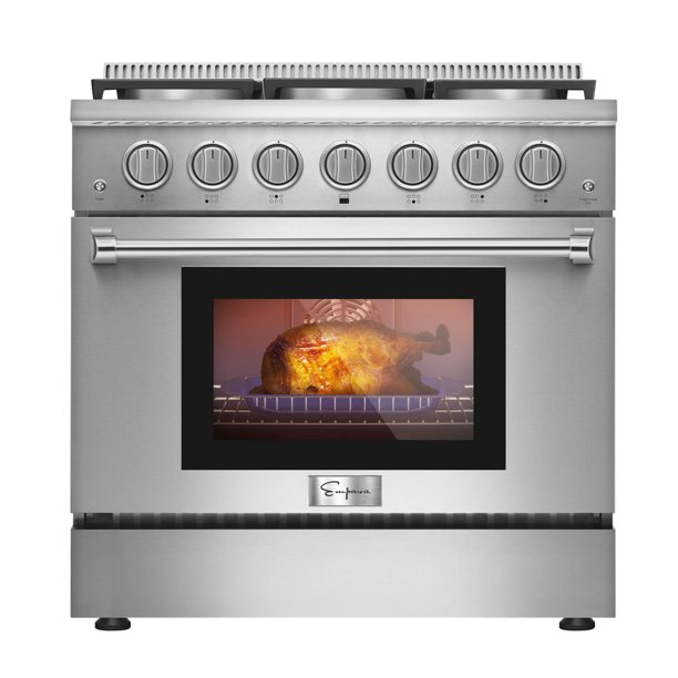 Empava 36 in. 5.2 Cu. ft. Pro-Style Slide-In Single Oven Gas Range with 6 Sealed Ultra High-Low Burners - Heavy Duty Continuous Grates in Stainless Steel