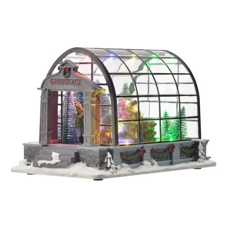 Holiday Time Village Greenhouse Collectible Display, 8.875