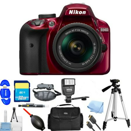 Nikon D3400 DSLR Camera with 18-55mm Lens (Red) PRO