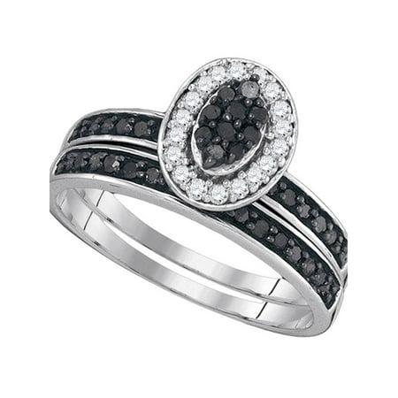 Sterling Silver Diamond Engagement Ring for Womens Black Color Enhanced Cluster Bridal Wedding Band Set 1/2 Cttw - April Wedding Colors