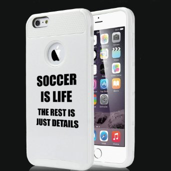 Apple iPhone 6 Plus / 6s Plus Hybrid Shockproof Impact Hard Cover / Soft Silicone Rubber Inside Case Soccer Is Life (White),MIP
