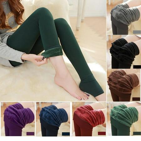 Fashion Women Winter Thick Warm Fleece Lined Thermal Stretchy Slim Skinny Leggings (Thick Womens Fashion)