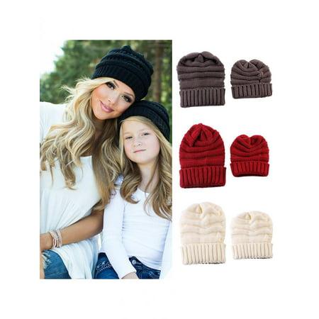 0c96495f26705 Girl12Queen - Girl12Queen Warm Knitted Beanie Hat Solid Color Mother  Daughter Matching Winter Skull Cap - Walmart.com