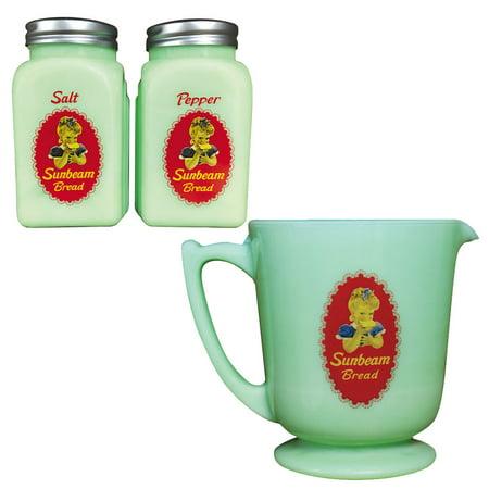 (Set) Sunbeam Jadeite Depression Style Salt & Pepper Shakers & Measuring