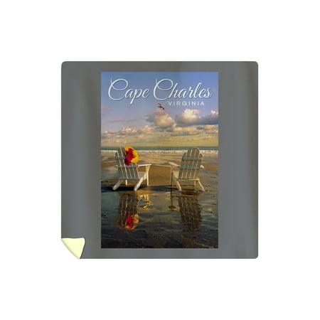 Cape Charles, Virginia - Adirondack Chairs - Lantern Press Photography (88x88 Queen Microfiber Duvet Cover)