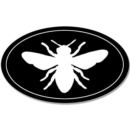 BLACK OVAL Bee Silhouette Sticker (bee keeper beekeeper (Save The Honey Bees Sticker)