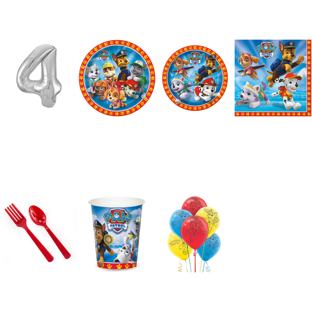 PAW PATROL PARTY SUPPLIES PARTY PACK FOR 32 WITH SILVER #4 BALLOON