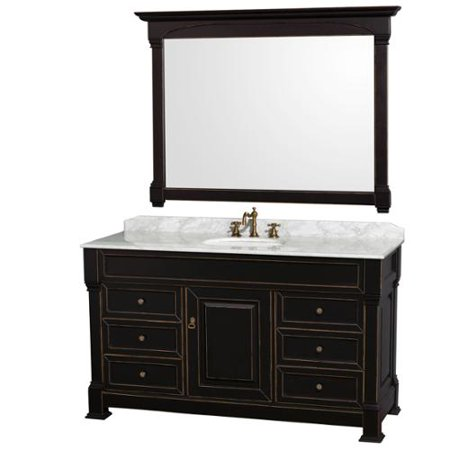 Wyndham Collection Andover 60-inch Black/ White UM Round Sink 56-inch Mirror Single Bathroom Vanity 60