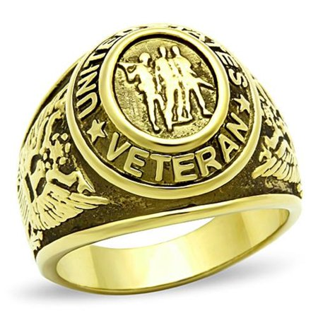 Military Army Mens Ring - Mens Stainless Steel Gold IP US Veteran Military Ring-Sizes 8-14 Father's Day