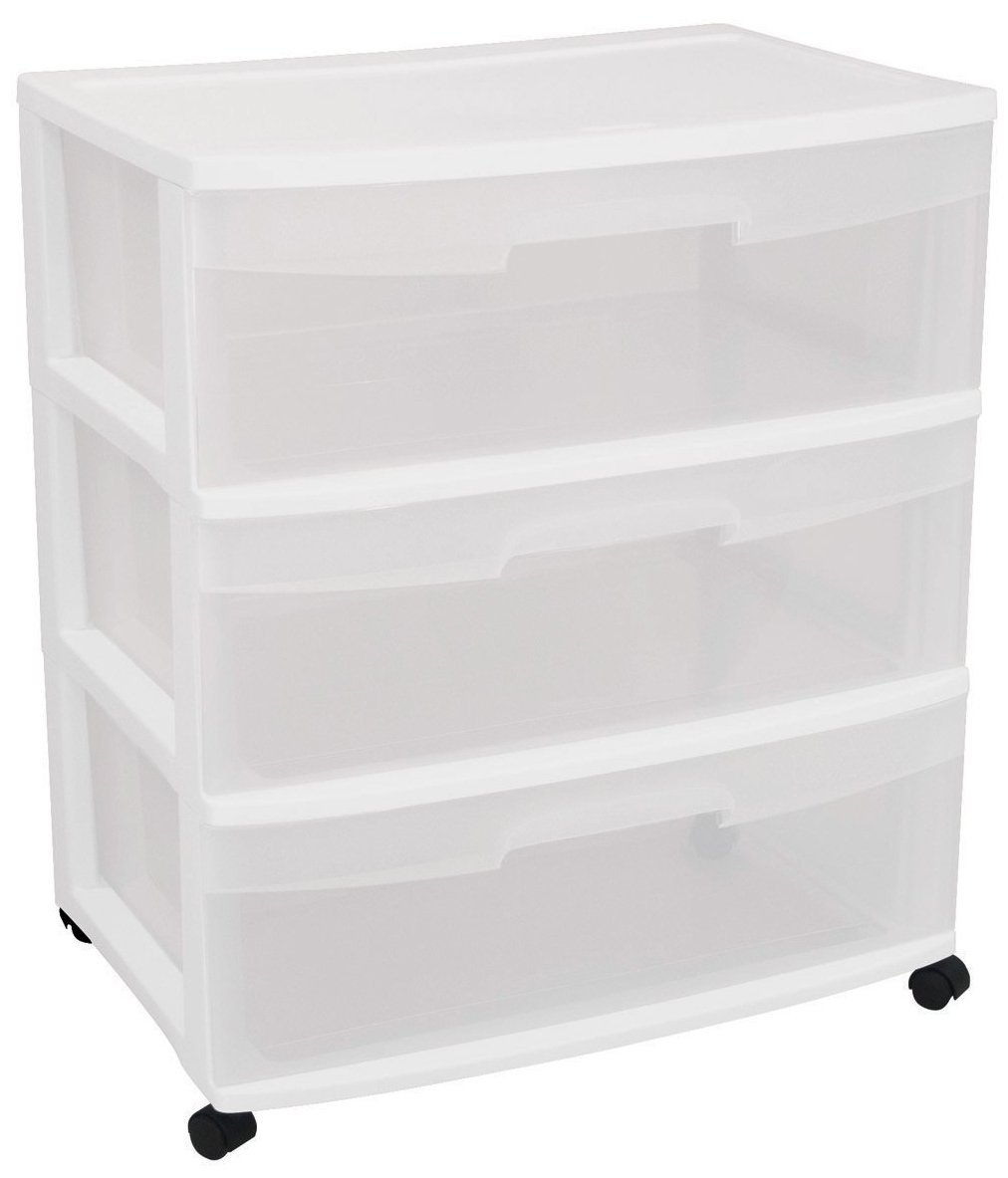 STERILITE 29308001 Wide 3 Drawer Cart White Frame with Clear Drawers and Black Casters