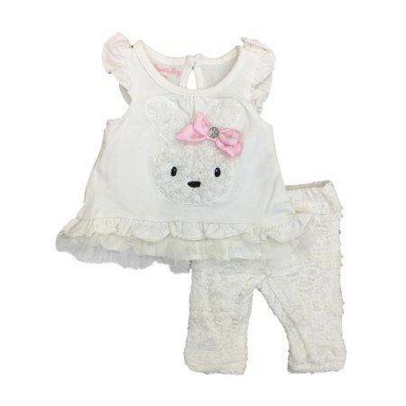 Infant Girls White Bunny Rabbit Baby Outfit Ruffle Lace Shirt & Leggings (Lace Ruffle Leggings)
