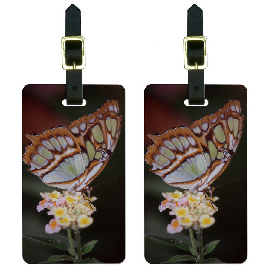 Butterfly on Flower Luggage Tags Suitcase Carry-On ID, Set of 2