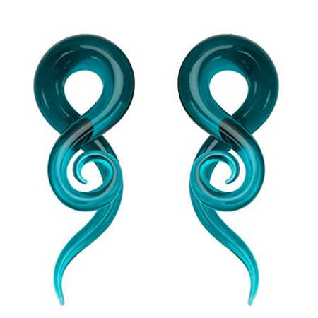 BodyJ4You 2PC Glass Ear Tapers Plugs 00G Teal Teardrop Spiral Gauges Piercing Jewelry Set