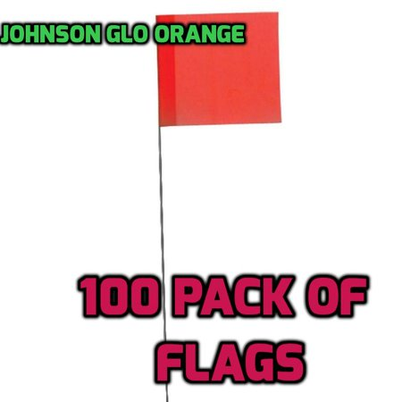 Johnson Level & Tool 3350-O Stake Flags, Glo Orange, 100-Bundle