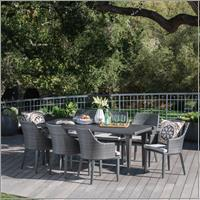 Larue Outdoor 9 Piece Wicker Rectangular Dining Set with Cushions, Grey