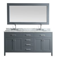 """Design Element London 72"""" Double Sink Bathroom Vanity Set in Gray Finish with Carrara Marble Top"""