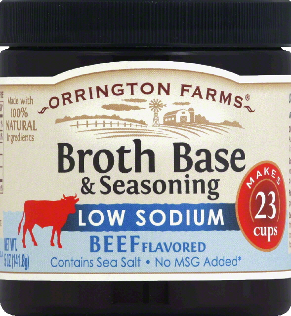 Orrington Farms Broth Base & Seasoning, Low Sodium, Beef Flavored