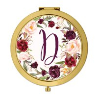 Andaz Press Gold Compact Mirror Bridesmaid's Wedding Gift, Marsala Burgundy Maroon Flowers , Monogram Letter D, 1-Pk