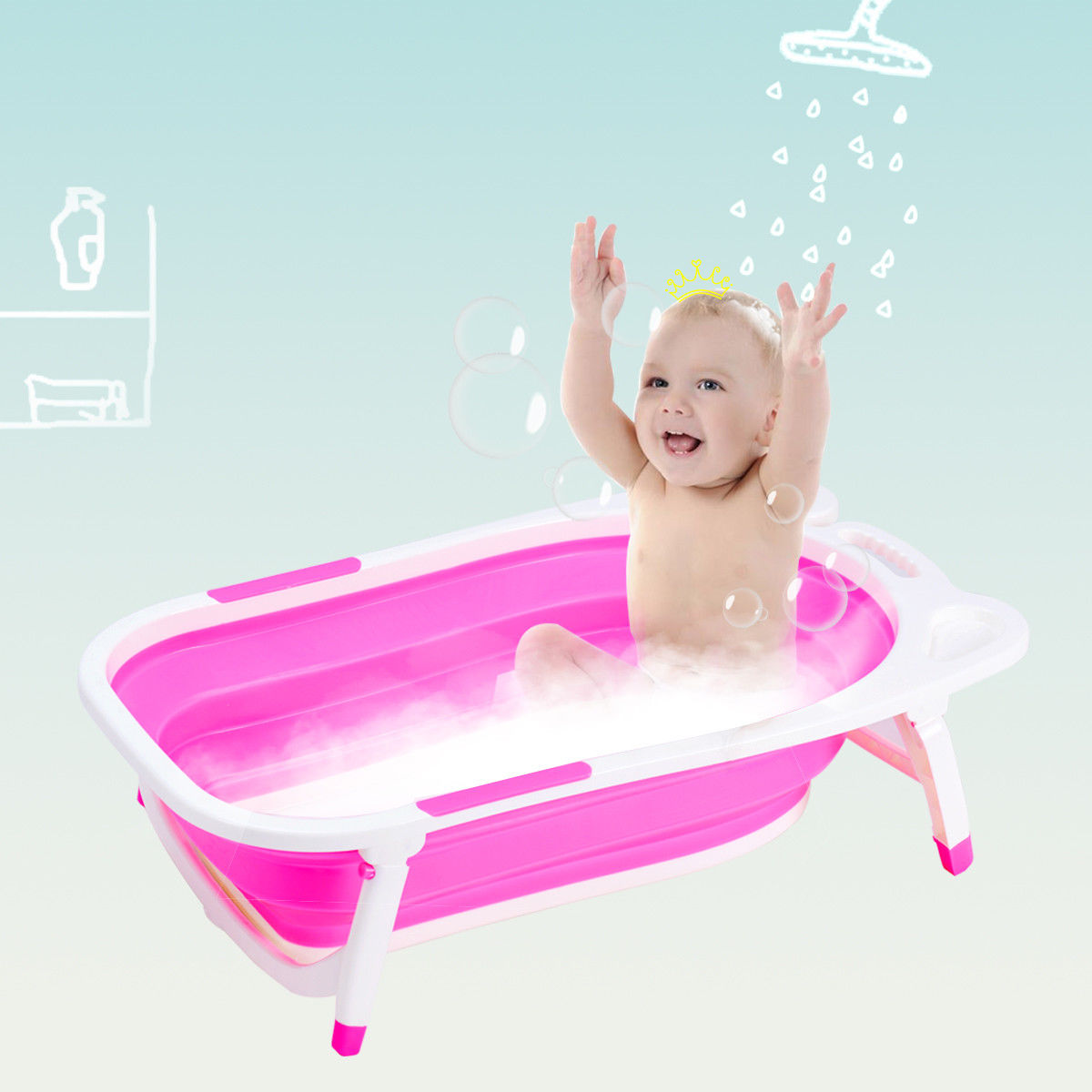 Gymax Pink Baby Folding Bathtub Infant Collapsible Portable Shower Basin w  Block by Gymax