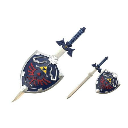 The Legend of Zelda Blue Replica Master Sword And Shield Set Prop Display - Zelda Master Sword